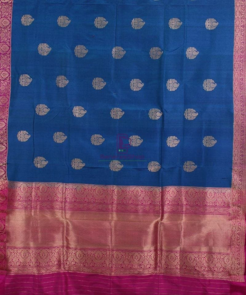 Pure Banarasi Tussar Silk Handwoven Double Shaded Saree in Berry Blue 1