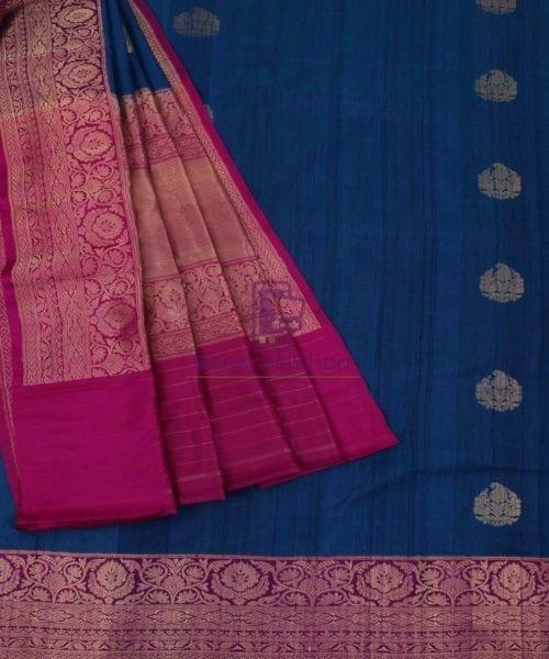 Pure Banarasi Tussar Silk Handwoven Double Shaded Saree in Berry Blue 5