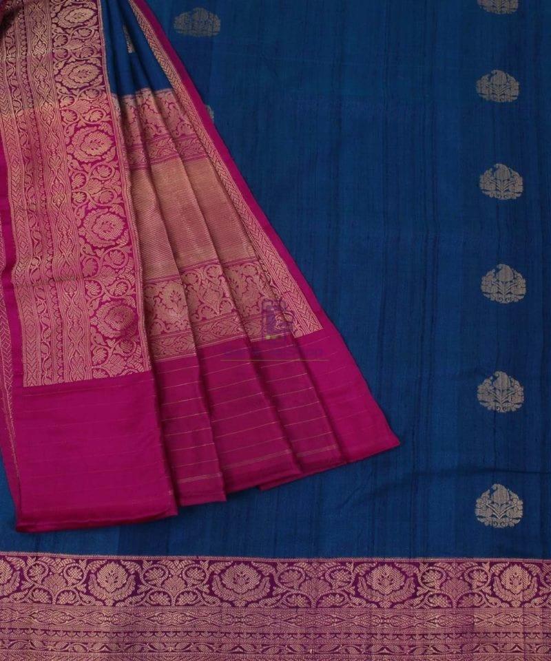 Pure Banarasi Tussar Silk Handwoven Double Shaded Saree in Berry Blue 3