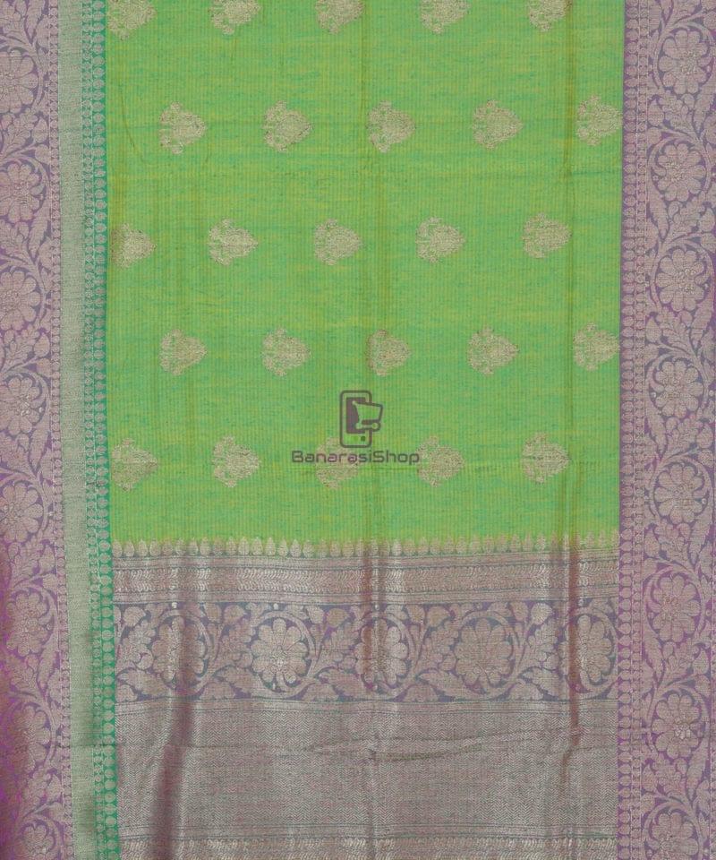 Banarasi Pure Handloom Dupion Silk Shamrock Green Saree 1