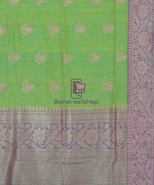 Banarasi Pure Handloom Dupion Silk Shamrock Green Saree 5