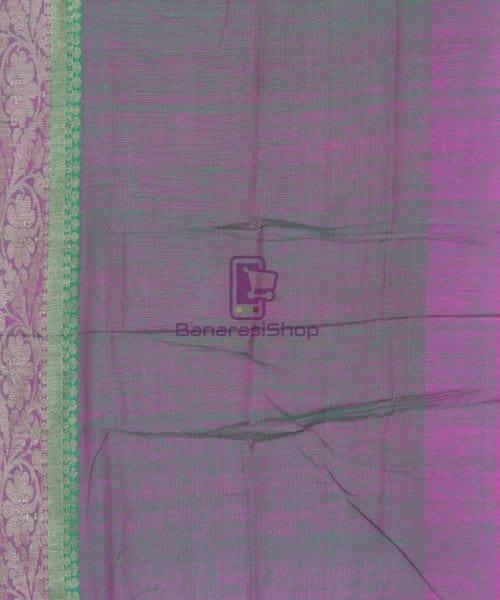 Banarasi Pure Handloom Dupion Silk Shamrock Green Saree 6