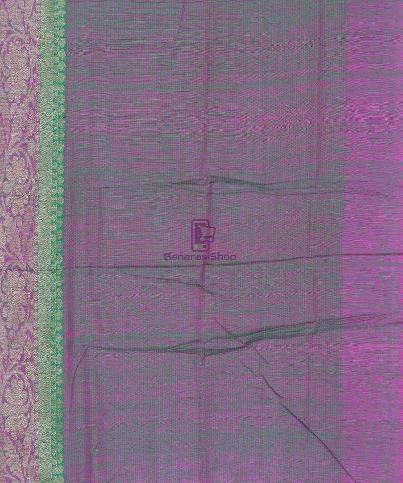 Banarasi Pure Handloom Dupion Silk Shamrock Green Saree 3