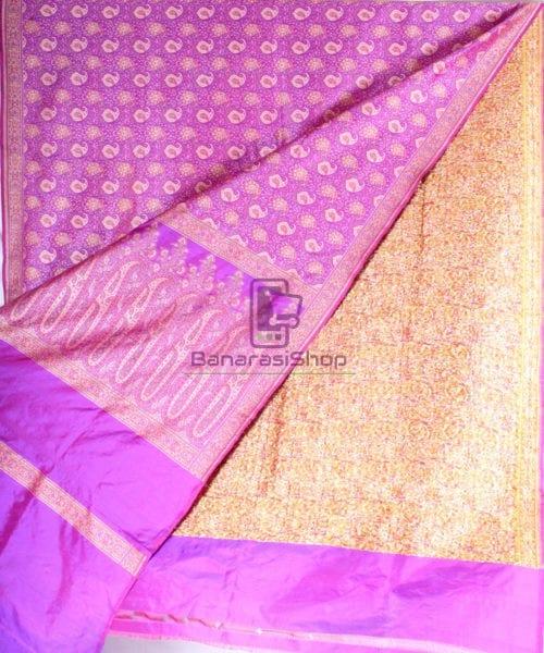 Handwoven Banarasi Jamdani Kataan Silk Saree in purple 4