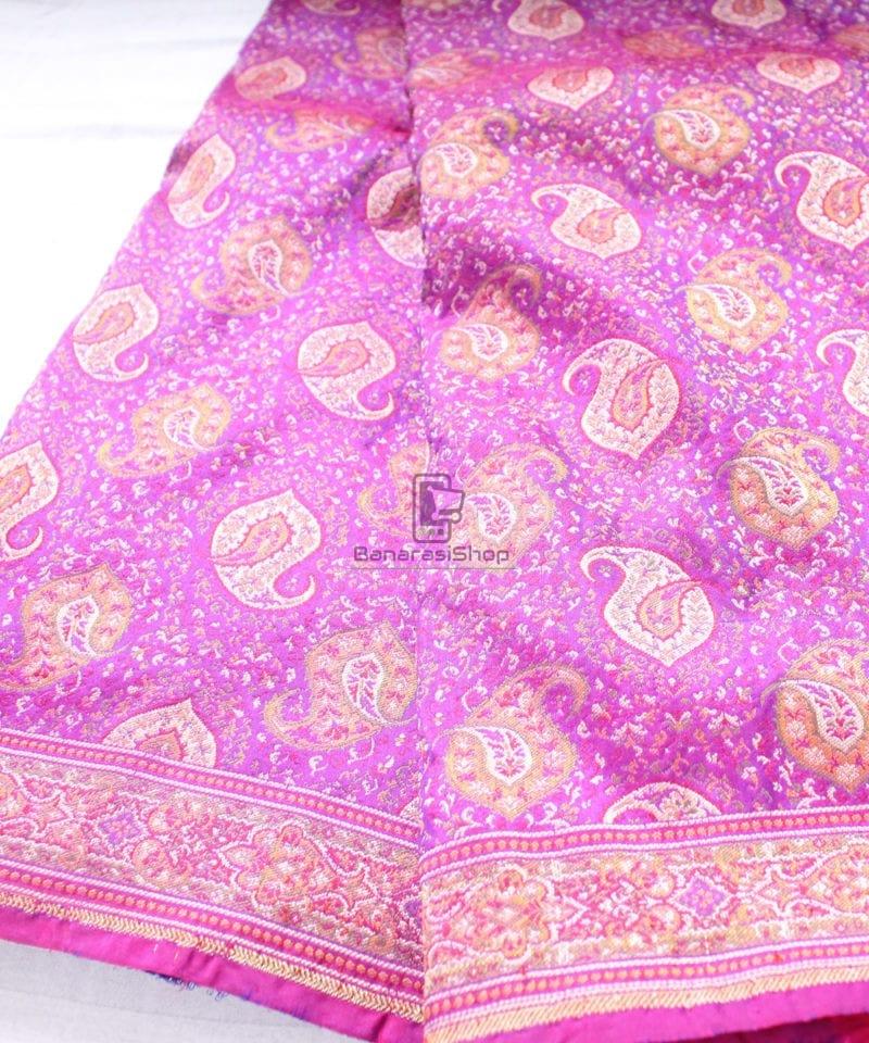 Handwoven Banarasi Jamdani Kataan Silk Saree in purple 1