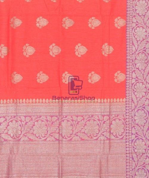 Banarasi Pure Handloom Dupion Silk Saree in Strawberry Red 6