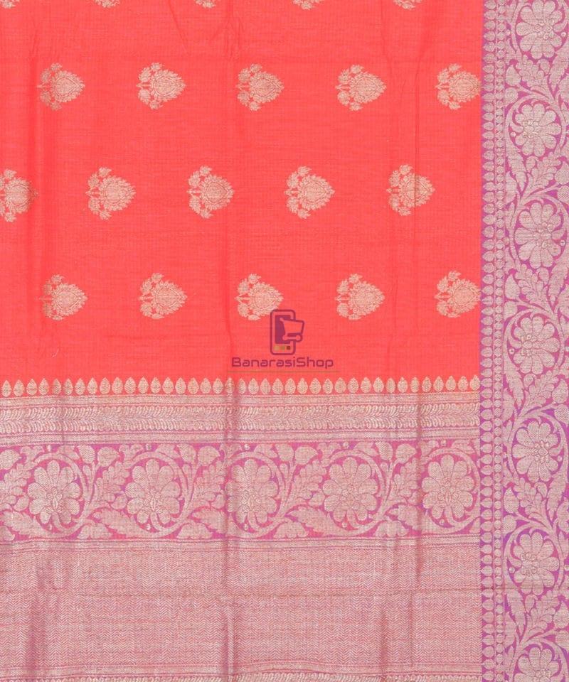 Banarasi Pure Handloom Dupion Silk Saree in Strawberry Red 3