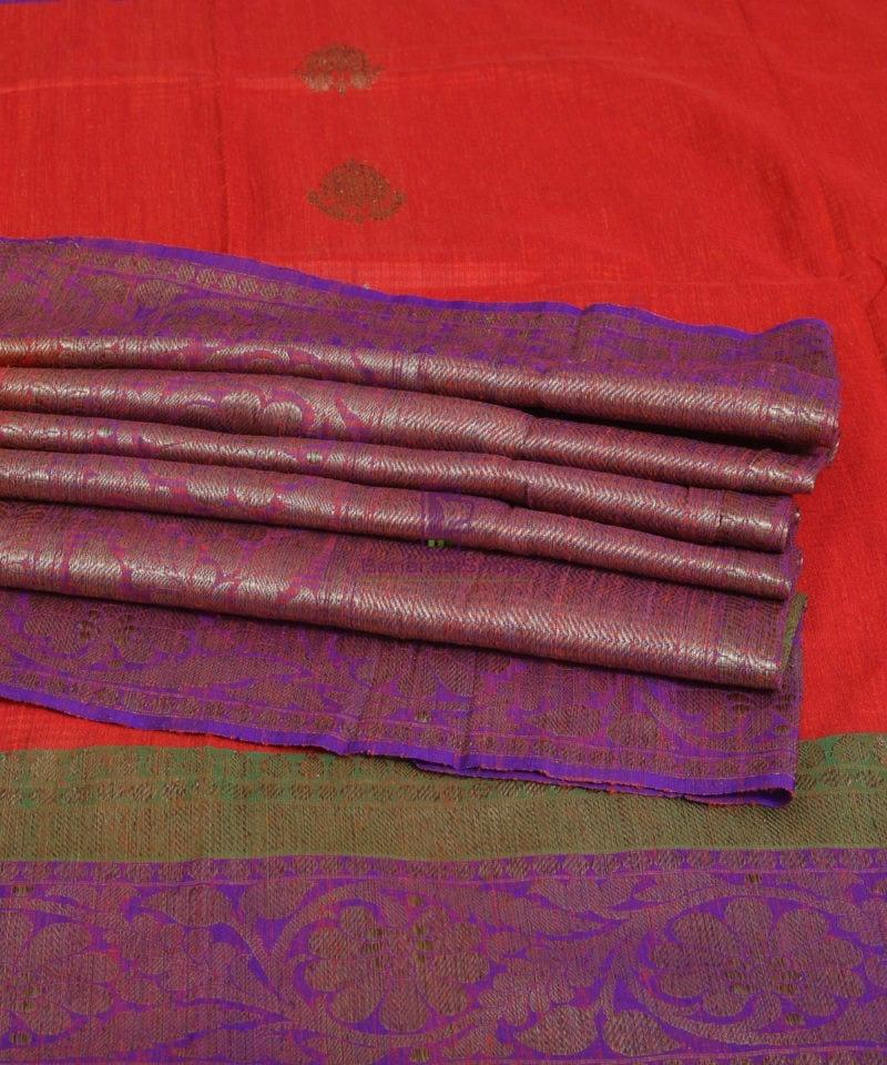 Banarasi Pure Handloom Dupion Silk Saree in Strawberry Red 1