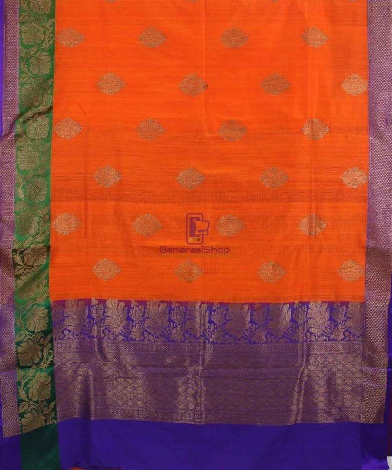 Banarasi Pure Handloom Dupion Silk Orange Saree 1