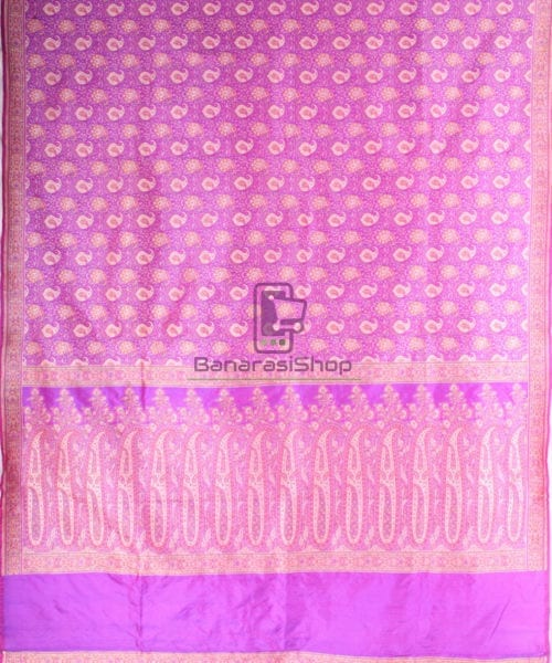 Handwoven Banarasi Jamdani Kataan Silk Saree in purple 5