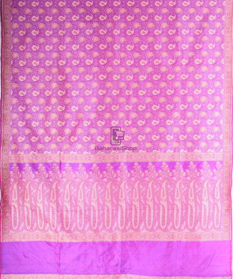 Handwoven Banarasi Jamdani Kataan Silk Saree in purple 3