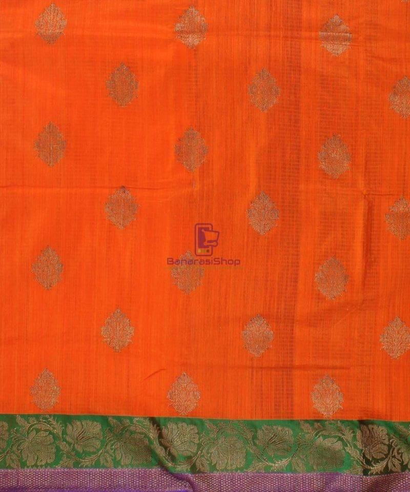 Banarasi Pure Handloom Dupion Silk Orange Saree 2