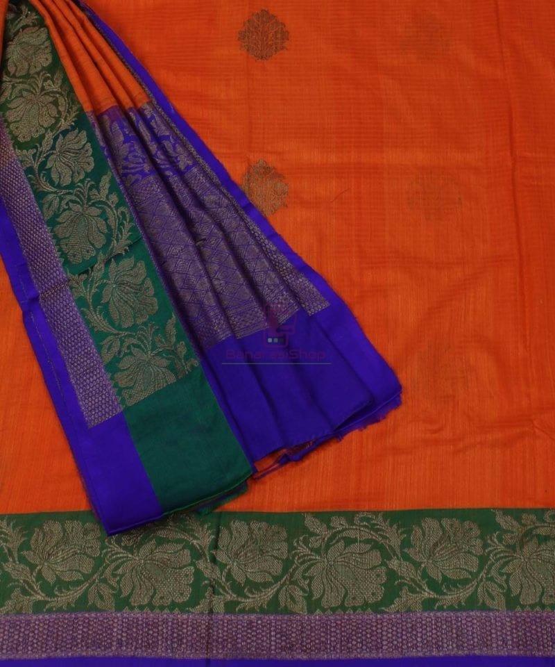 Banarasi Pure Handloom Dupion Silk Orange Saree 3