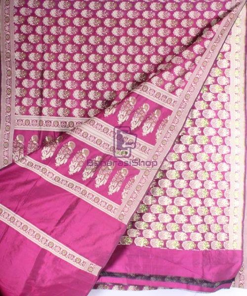 Handwoven Pure Banarasi Jamdani Katan Silk Saree in Dark Pink 4