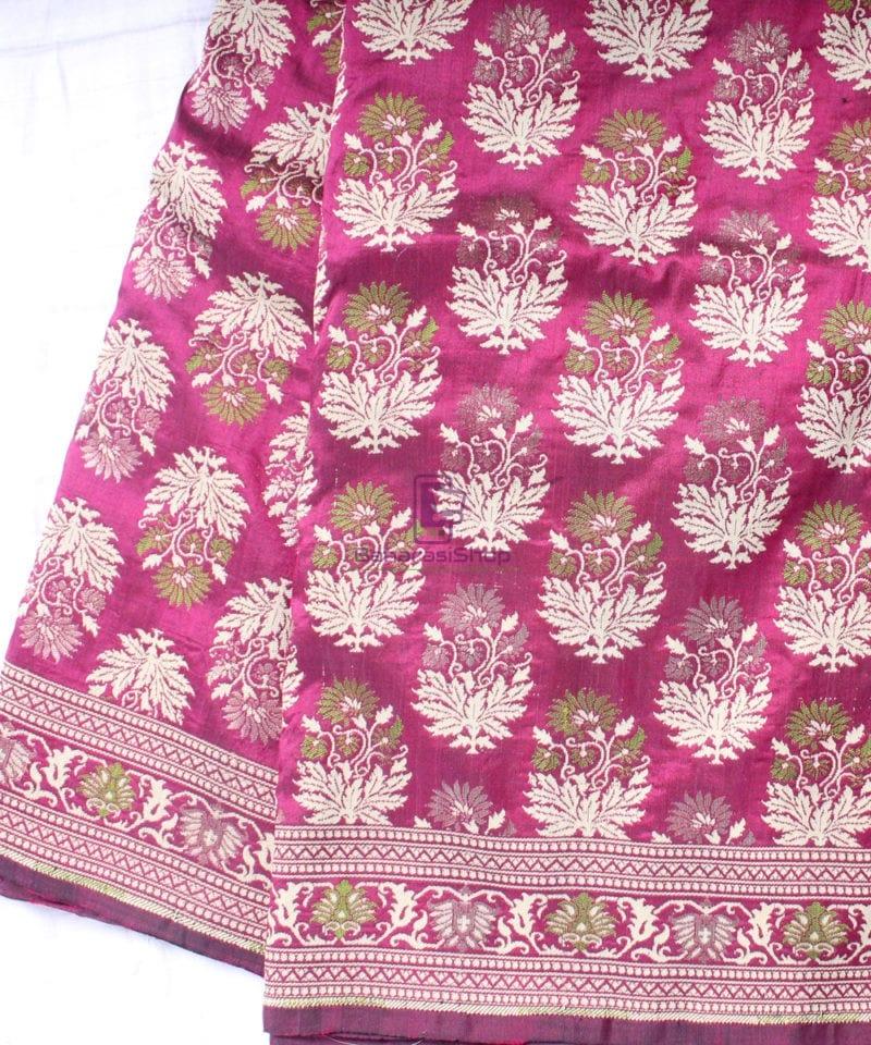 Handwoven Pure Banarasi Jamdani Katan Silk Saree in Dark Pink 1