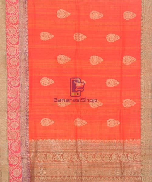 Banarasi Pure Handloom Dupion Silk Candy Red Saree 5