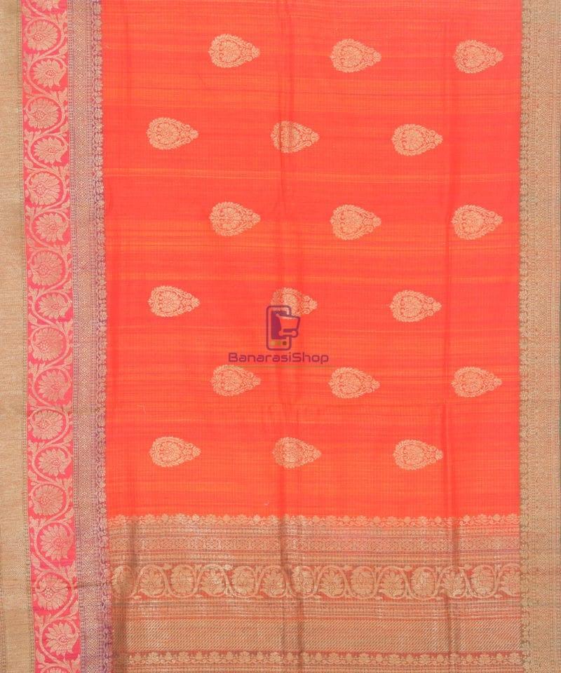 Banarasi Pure Handloom Dupion Silk Candy Red Saree 2