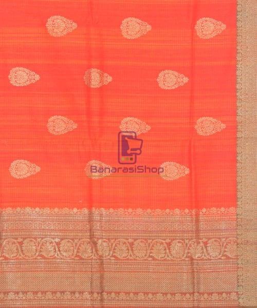 Banarasi Pure Handloom Dupion Silk Candy Red Saree 6