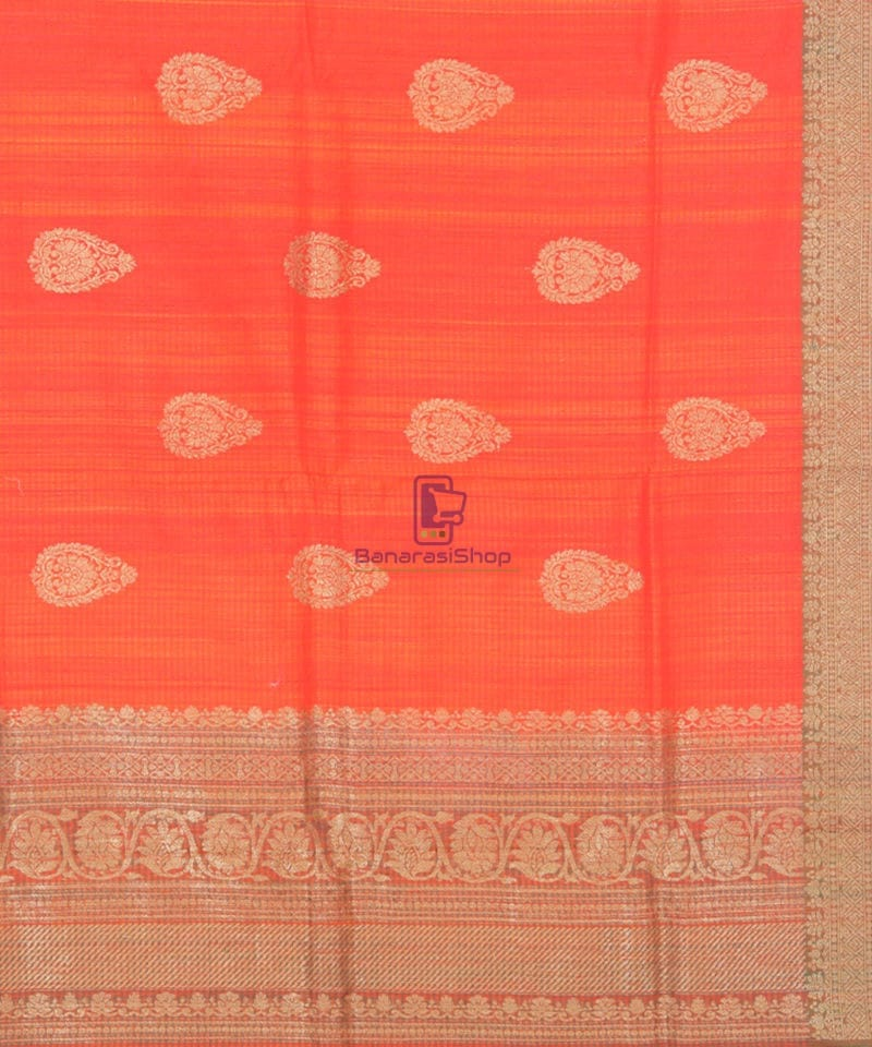 Banarasi Pure Handloom Dupion Silk Candy Red Saree 3