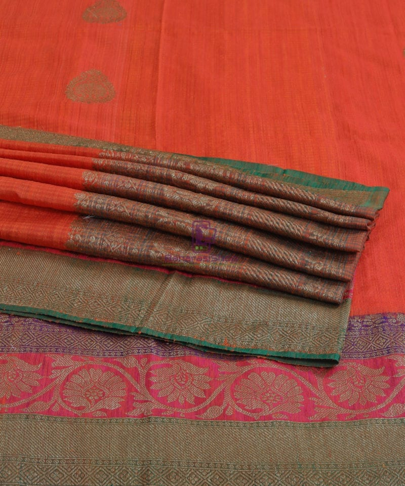 Banarasi Pure Handloom Dupion Silk Candy Red Saree 1