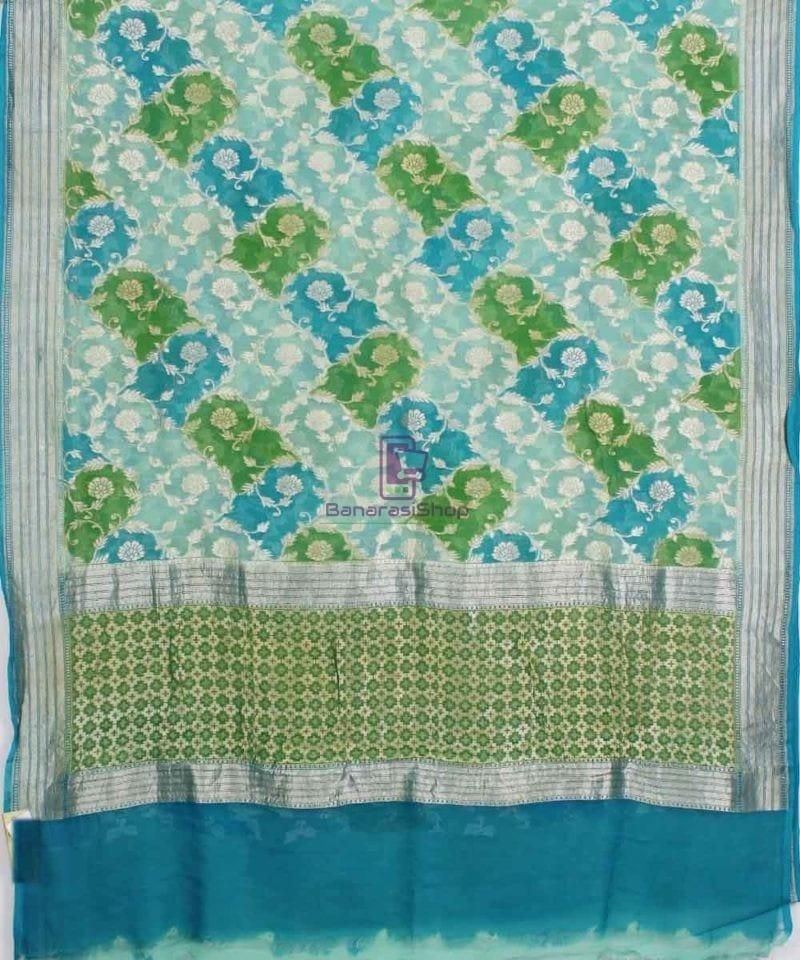 Pure Banarasi Handpainted Khaddi Georgette Silk Handloom Saree in Green and Blue 1