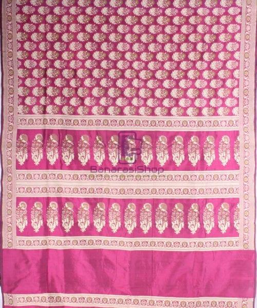 Handwoven Pure Banarasi Jamdani Katan Silk Saree in Dark Pink 5
