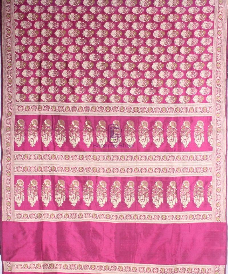 Handwoven Pure Banarasi Jamdani Katan Silk Saree in Dark Pink 3