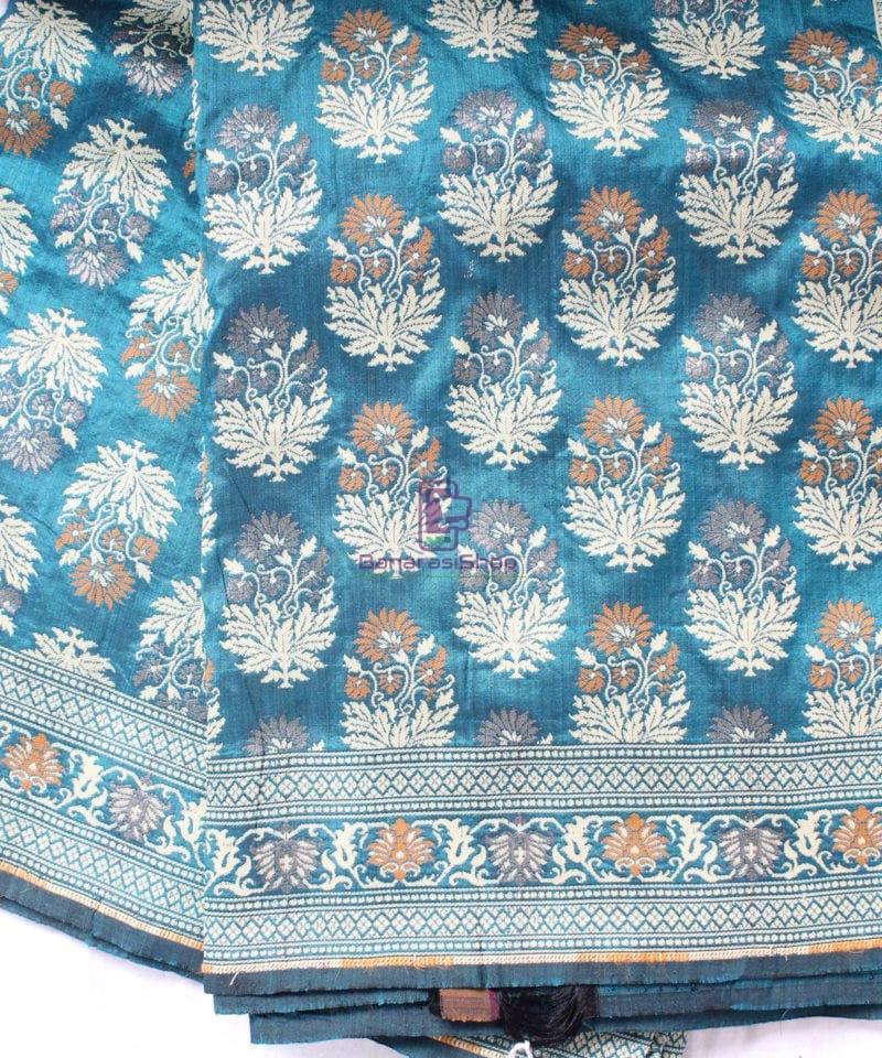 Handwoven Pure Banarasi Jamdani Katan Silk Saree in Sea Blue 1