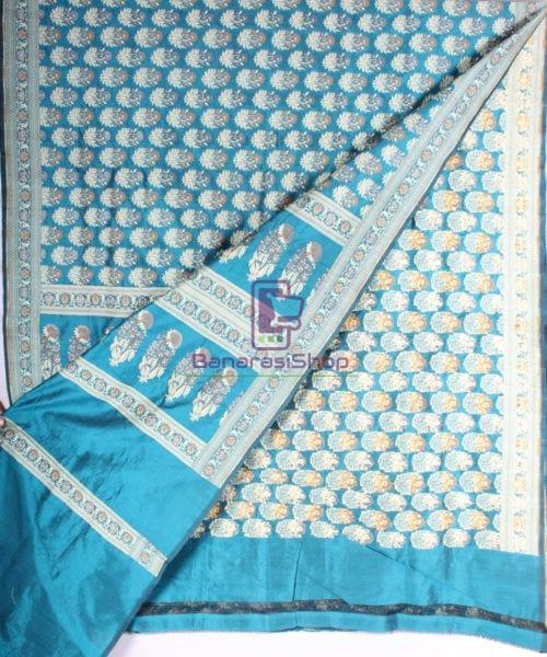 Handwoven Pure Banarasi Jamdani Katan Silk Saree in Sea Blue 4
