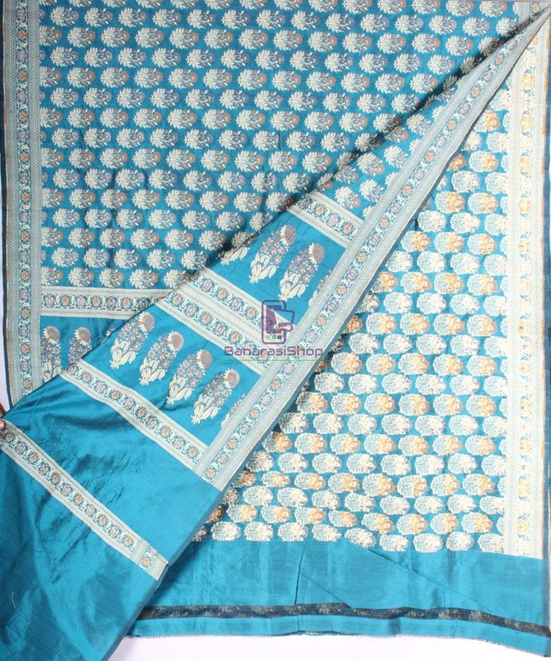Handwoven Pure Banarasi Jamdani Katan Silk Saree in Sea Blue 2