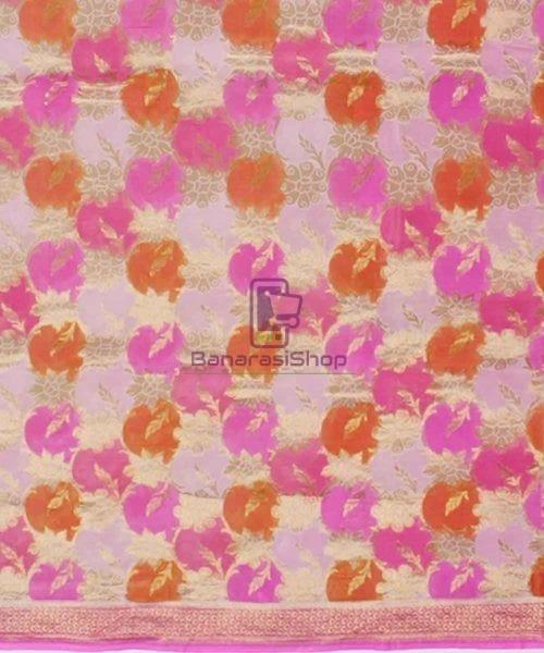 Pure Banarasi Handpainted Khaddi Georgette Silk Handloom Saree in Pink 4