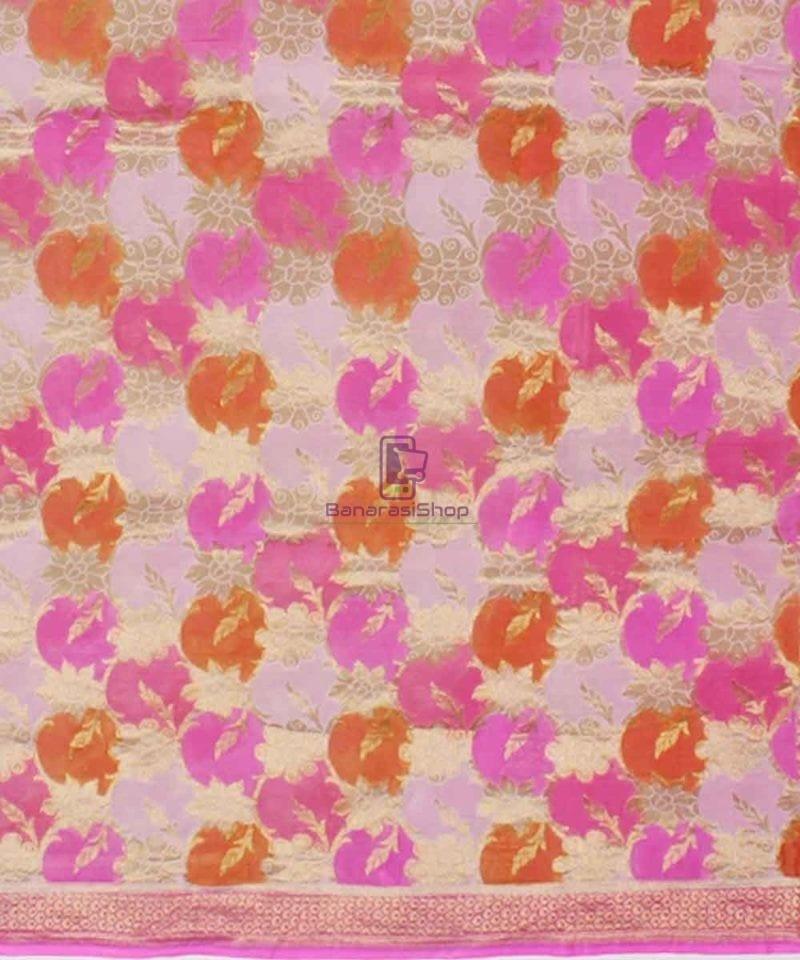 Pure Banarasi Handpainted Khaddi Georgette Silk Handloom Saree in Pink 2