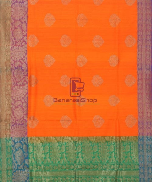 Banarasi Pure Handloom Dupion Silk Tiger Orange Saree 5
