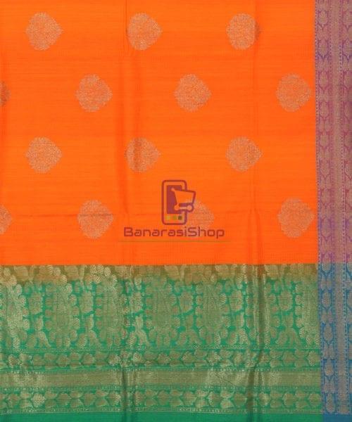 Banarasi Pure Handloom Dupion Silk Tiger Orange Saree 6