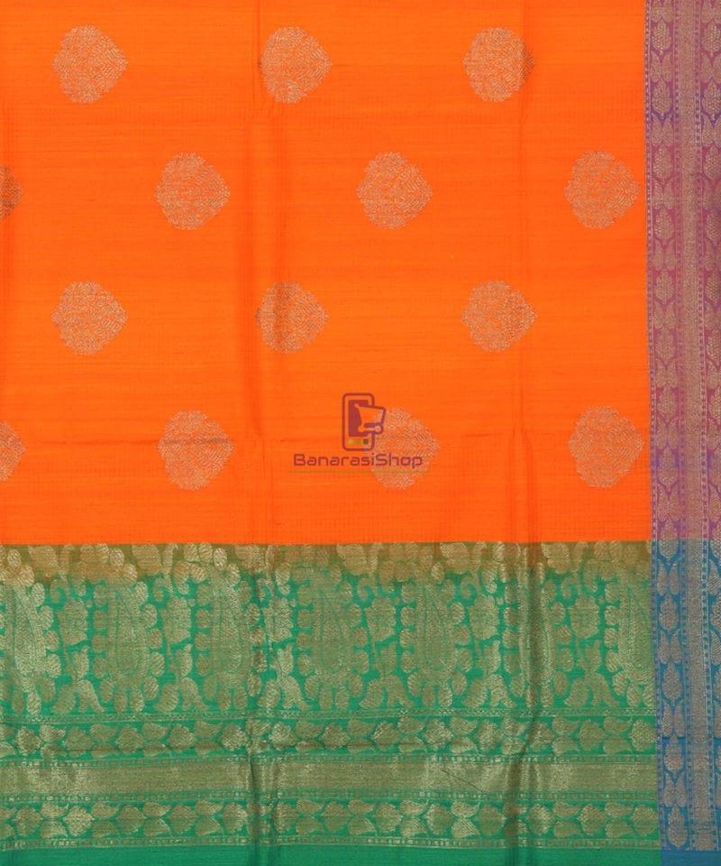 Banarasi Pure Handloom Dupion Silk Tiger Orange Saree 3