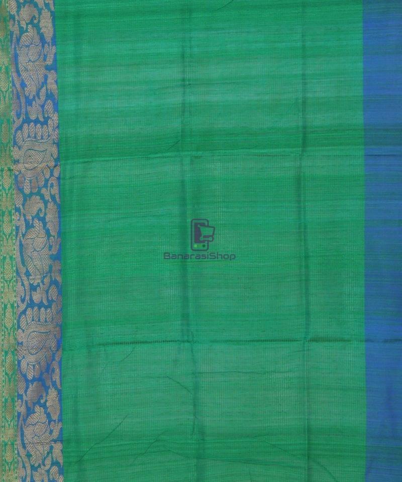 Banarasi Pure Handloom Dupion Silk Tiger Orange Saree 4