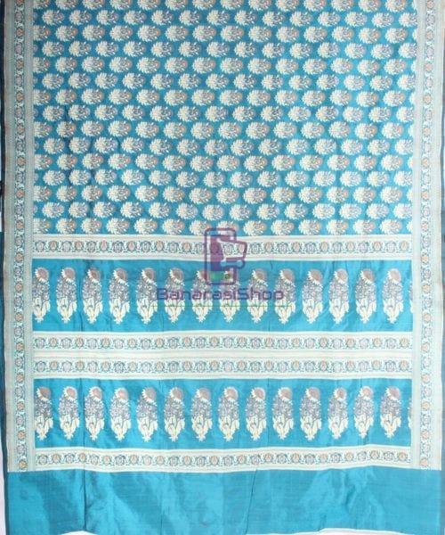 Handwoven Pure Banarasi Jamdani Katan Silk Saree in Sea Blue 5