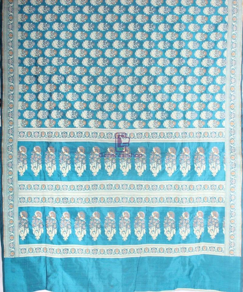 Handwoven Pure Banarasi Jamdani Katan Silk Saree in Sea Blue 3