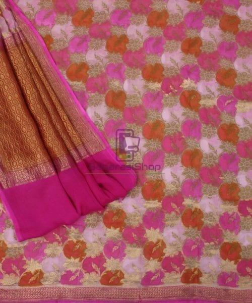 Pure Banarasi Handpainted Khaddi Georgette Silk Handloom Saree in Pink 5