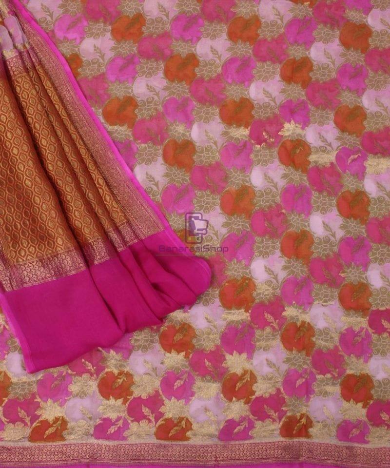Pure Banarasi Handpainted Khaddi Georgette Silk Handloom Saree in Pink 3