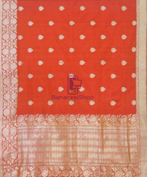 Banarasi Pure Handloom Rose Red Katan Silk Saree 5