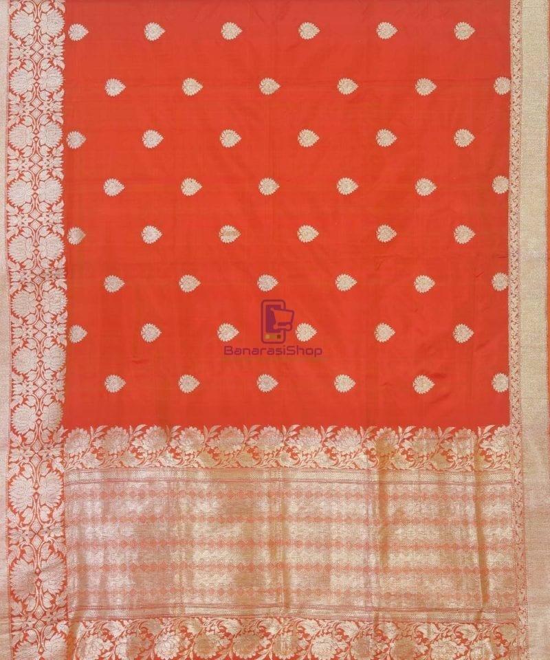 Banarasi Pure Handloom Rose Red Katan Silk Saree 2