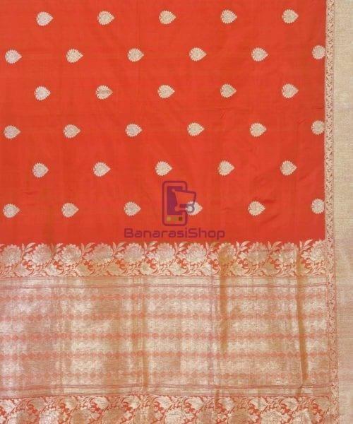 Banarasi Pure Handloom Rose Red Katan Silk Saree 6