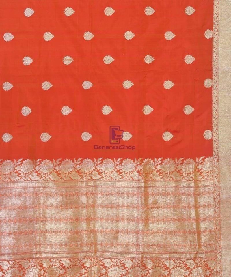 Banarasi Pure Handloom Rose Red Katan Silk Saree 3