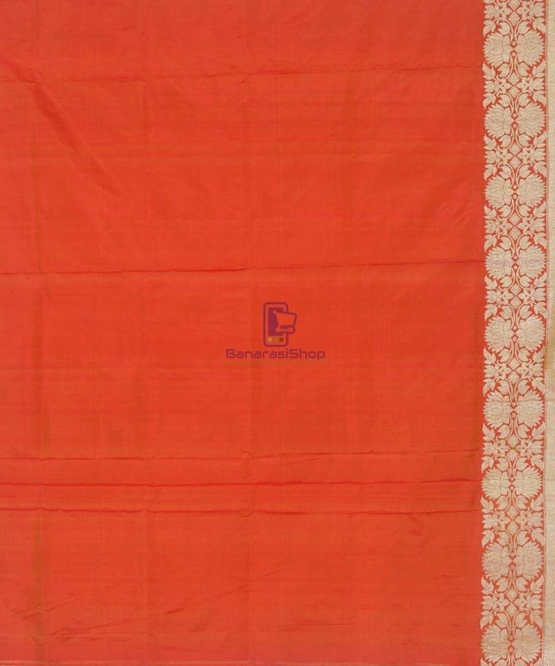 Banarasi Pure Handloom Rose Red Katan Silk Saree 4