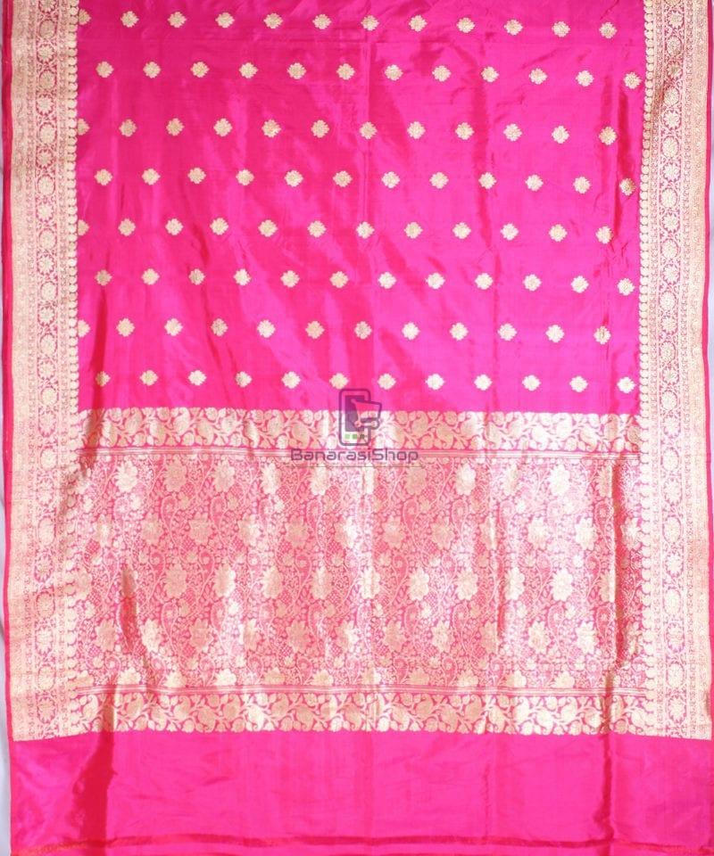 Handwoven Pure Katan Banarasi Silk Saree in Fuschia 3