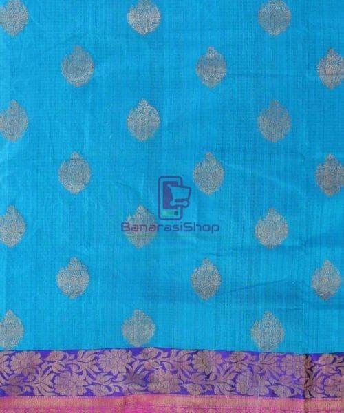 Banarasi Pure Handloom Dupion Silk Blue Saree 4