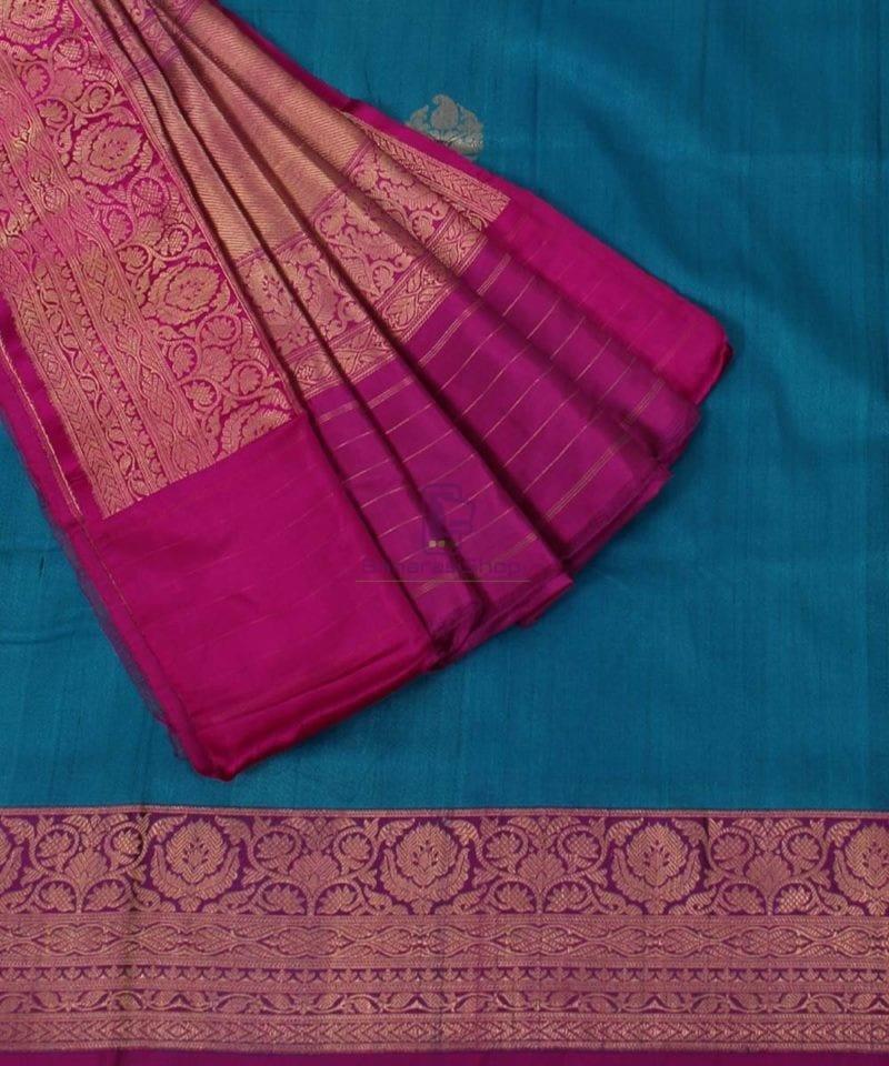 Banarasi Pure Handloom Dupion Silk Blue Saree 3