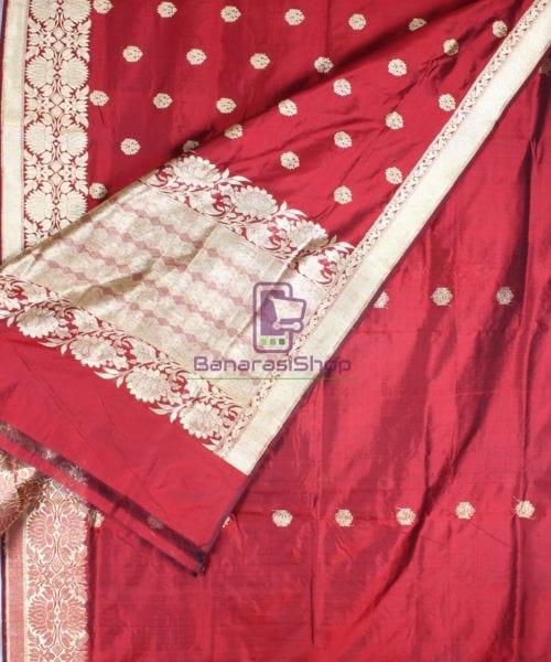 Handwoven Pure Katan Banarasi Silk Saree in Royal Red 4