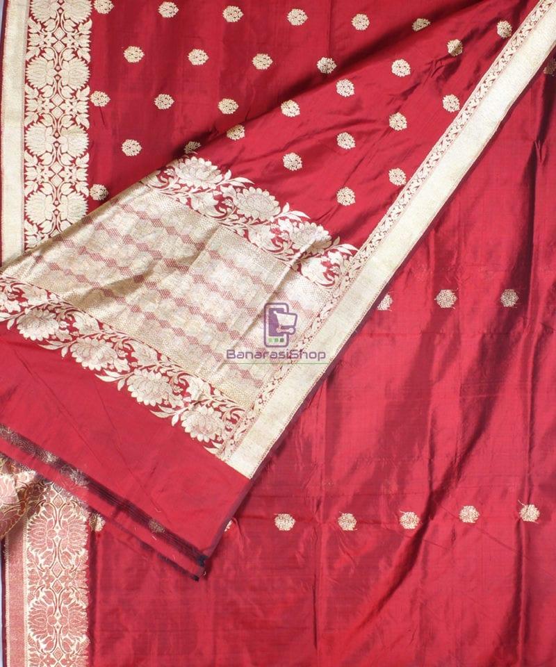 Handwoven Pure Katan Banarasi Silk Saree in Royal Red 2